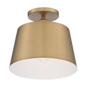 Motif Brushed Brass and White 10-Inch One-Light Semi-Flush Mount