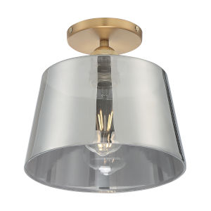 Motif Brushed Brass and Smoked Glass 10-Inch One-Light Semi-Flush Mount