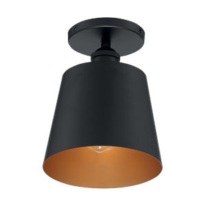 Motif Black and Gold Seven-Inch One-Light Semi-Flush Mount