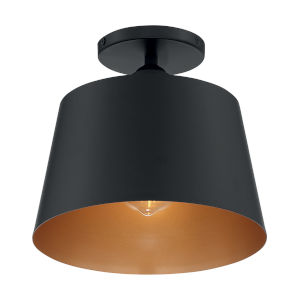 Motif Black and Gold 10-Inch One-Light Semi-Flush Mount
