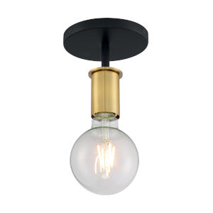 Ryder Black and Brushed Brass One-Light Semi-Flush Mount