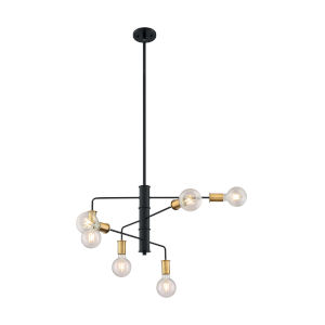 Ryder Black and Brushed Brass Six-Light Chandelier