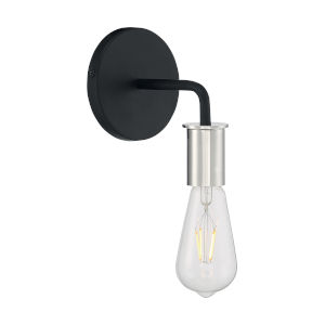 Ryder Black and Polished Nickel One-Light Wall Sconce