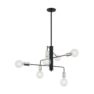 Ryder Black and Polished Nickel Six-Light Chandelier