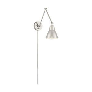 Fulton Nickel Polished One-Light Adjustable Swing Arm Wall Sconce