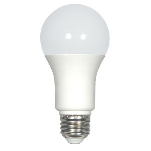 SATCO Frosted White LED A19 Medium 9.8 Watt Type A Bulb with 3000K 800 Lumens 80 CRI and 220 Degrees Beam