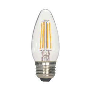 SATCO Clear LED C11 Medium 4.5 Watt LED Filament Bulb with 2700K 450 Lumens 80 CRI and 360 Degrees Beam, Carded