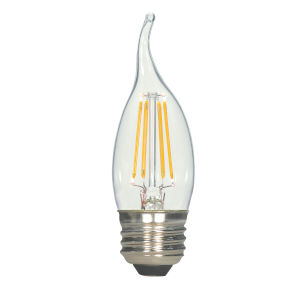 SATCO Clear LED CA11 Medium 4.5 Watt LED Filament Bulb with 2700K 450 Lumens 80 CRI and 360 Degrees Beam, Carded