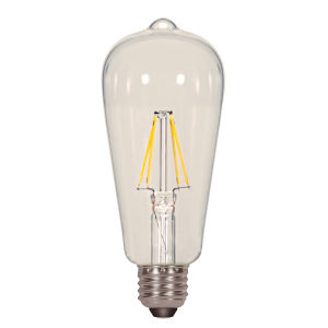 SATCO Clear LED ST19 Medium 6.5 Watt LED Filament Bulb with 2700K 810 Lumens 80 CRI and 360 Degrees Beam, Carded