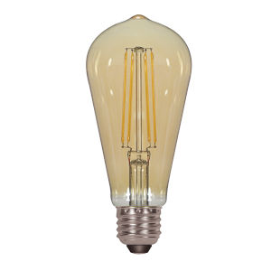SATCO Transparent Amber LED ST19 Medium 4.5 Watt LED Filament Bulb with 2200K 380 Lumens 80 CRI and 360 Degrees Beam, Carded