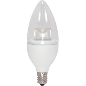 SATCO Clear LED Torpedo Candelabra 2.8 Watt Candle LED Light Bulb with 3000K 160 Lumens 80 CRI and 290 Degrees Beam