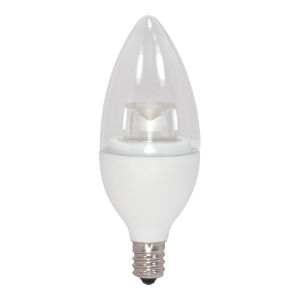 SATCO Clear LED B11 Candelabra 4.5 Watt Candle LED Light Bulb with 3000K 300 Lumens 80 CRI and 290 Degrees Beam