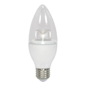 SATCO Clear LED B11 Medium 4.5 Watt Candle LED Light Bulb with 3000K 300 Lumens 80 CRI and 290 Degrees Beam