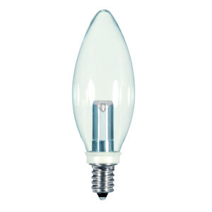 SATCO Clear LED BA9 1/2 1 Watt Candle LED Light Bulb with 2700K 25 Lumens 80 CRI and 360 Degrees Beam