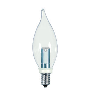 SATCO Clear LED CA8 Candelabra 1 Watt Candle LED Light Bulb with 2700K 25 Lumens 80 CRI and 360 Degrees Beam
