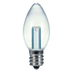 SATCO Clear LED C7 Candelabra 0.5 Watt Candle LED Light Bulb with 2700K 14 Lumens 80 CRI and 360 Degrees Beam
