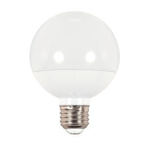 SATCO Frosted White LED G25 Medium 6 Watt LED Globe Light Bulb with 2700K 450 Lumens 80 CRI and 175 Degrees Beam