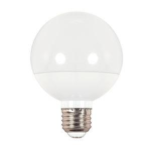 SATCO Frosted White LED G25 Medium 6 Watt LED Globe Light Bulb with 4000K 450 Lumens 80 CRI and 175 Degrees Beam