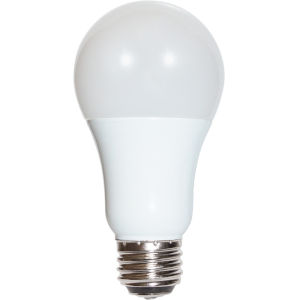 SATCO Frosted White LED A19 Meduim 3/9/12 Watt Type A Bulb with 3000K 1200 Lumens 80 CRI and 220 Degrees Beam
