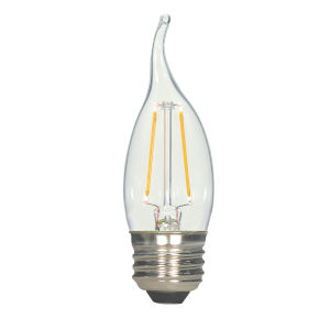 SATCO Clear LED CA11 Medium 2.5 Watt LED Filament Bulb with 2700K 250 Lumens 80 CRI and 360 Degrees Beam