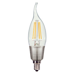 SATCO Clear LED CA11 Candelabra 4.5 Watt LED Filament Bulb with 2700K 450 Lumens 80 CRI and 360 Degrees Beam