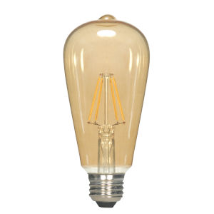 SATCO Transparent Amber LED ST19 Medium 6.5 Watt LED Filament Bulb with 2300K 650 Lumens 80 CRI and 360 Degrees Beam