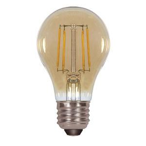 SATCO Transparent Amber LED A19 Medium 4.5 Watt LED Filament Bulb with 2200K 380 Lumens 80 CRI and 360 Degrees Beam