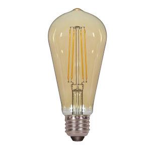 SATCO Transparent Amber LED ST19 Medium 4.5 Watt LED Filament Bulb with 2200K 380 Lumens 80 CRI and 360 Degrees Beam
