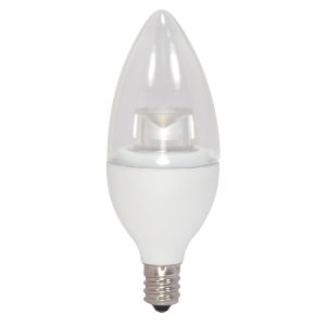 SATCO Clear LED Candle Candelabra 5 Watt Candle LED Light Bulb with 2700K 325 Lumens 90+ CRI and 280 Degrees Beam