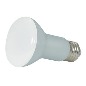 SATCO Frosted White LED R20 Medium 6.5 Watt BR LED Bulb with 5000K 525 Lumens 80 CRI and 107 Degrees Beam