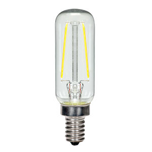 SATCO Clear LED T6 Candelabra 2.5 Watt LED Filament Bulb with 2700K 200 Lumens 80 CRI and 360 Degrees Beam