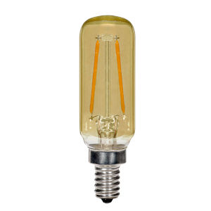SATCO Transparent Amber LED T6 Candelabra 2.5 Watt LED Filament Bulb with 2200K 150 Lumens 80 CRI and 360 Degrees Beam