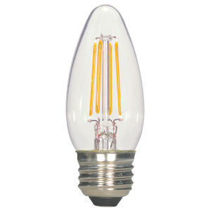 SATCO Clear LED C11 Medium 5.5 Watt LED Filament Bulb with 2700K 500 Lumens 80 CRI and 360 Degrees Beam