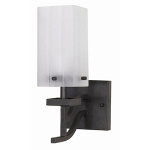 Cubica Textured Black One-Light Bath Fixture with Square Alabaster Swirl Glass