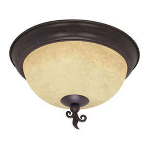 Tapas Old Bronze Three-Light Flush Mount with Tuscan Suede Glass
