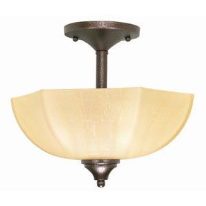 Normandy Copper Bronze Two-Light Semi Flush Mount with Champagne Washed Linen Glass