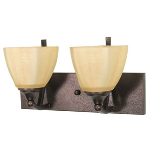Normandy Copper Bronze Two-Light Bath Fixture with Champagne Washed Linen Glass