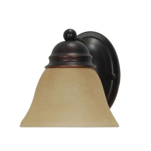 Empire Mahogany Bronze One-Light Bath Fixture with Champagne Washed Linen Glass