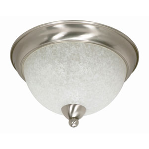 South Beach Brushed Nickel Three-Light Flush Mount with Water Spot Glass