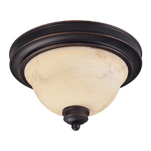 Anastasia Copper Espresso Two-Light Small Dome Flush Mount with Honey Marble Glass
