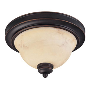 Anastasia Copper Espresso Two-Light Flush Mount with Honey Marble Glass