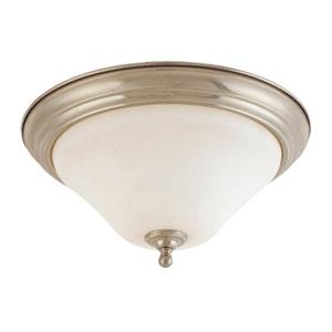 Dupont Brushed Nickel One-Light Flush Mount with Satin White Glass