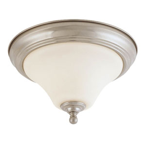 Dupont Brushed Nickel Two-Light Flush Mount with Satin White Glass
