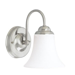 Dupont Brushed Nickel One-Light Bath Fixture with Satin White Glass
