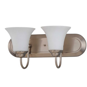 Dupont Brushed Nickel Two-Light Bath Fixture with Satin White Glass