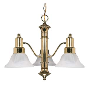 Gotham Polished Brass Three-Light Chandelier