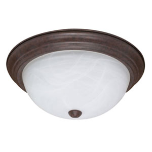 Old Bronze Three-Light Flush Mount with Alabaster Glass