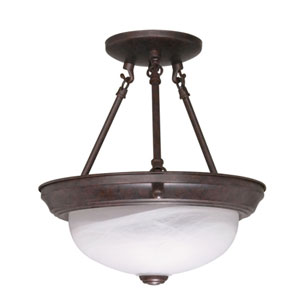 Old Bronze Two-Light Semi Flush Mount with Alabaster Glass