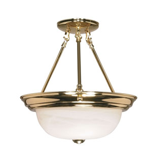 Polished Brass Two-Light Semi Flush Mount with Alabaster Glass
