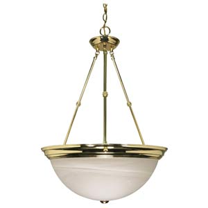Large Polished Brass Bowl Pendant